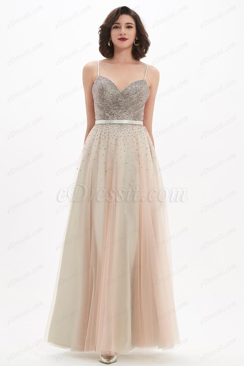 eDressit Spaghetti V-Cut Beads Long Tulle Party Evening Dress (00211314)