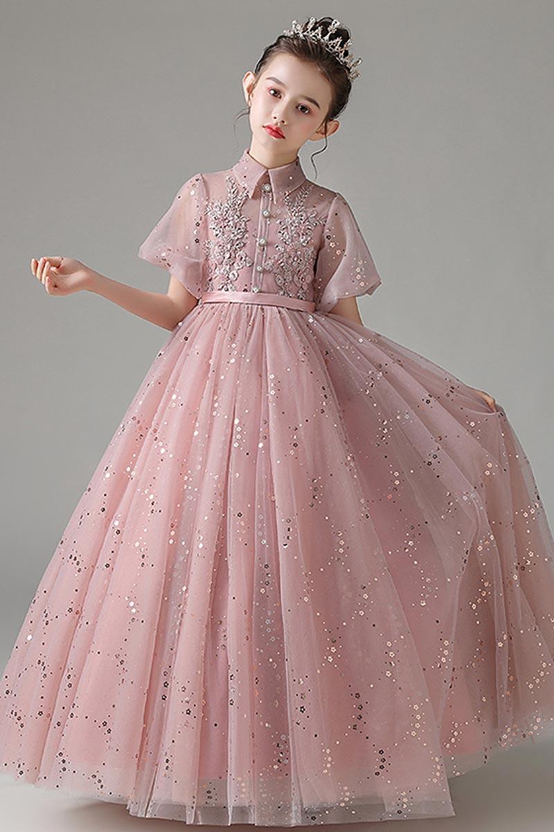eDressit Shiny Sequins High Neck Short Sleeves Tulle Flowergirl Dress (27210846)