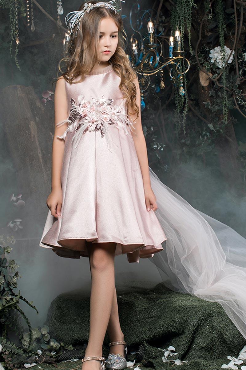 New Sleeveless Short Beads Delicate Flower Girl Dresses (T27013)