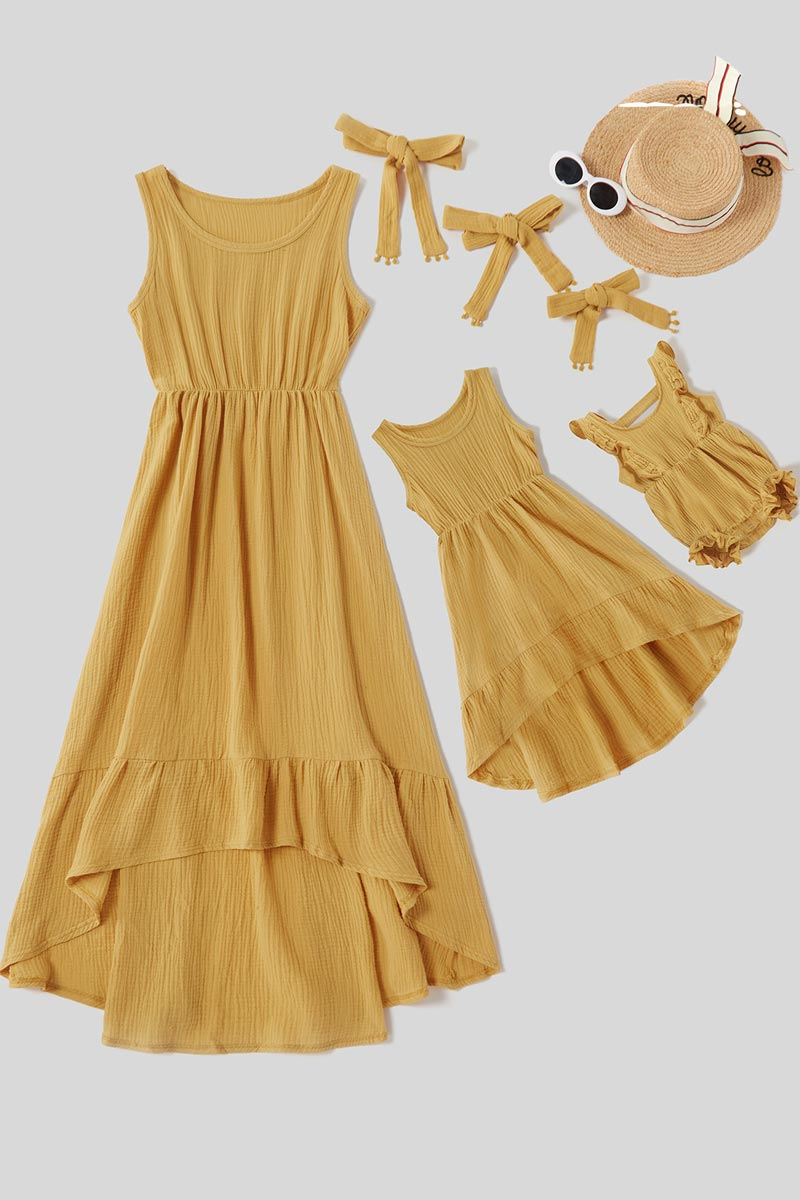 Mommy and Me Summer Sleeveless Matching Maxi Dresses Outfit with Headb (T400903)