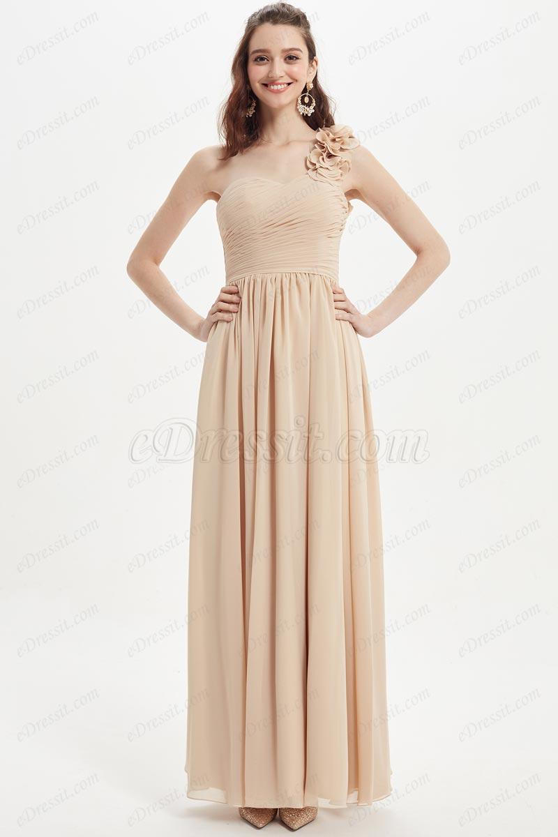 eDressit Sexy One Shoulder Beige Wedding Bridesmaid Dress (07218214)