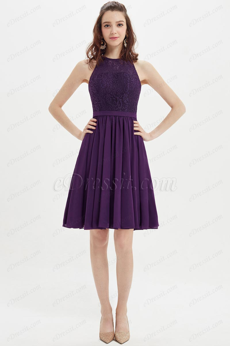eDressit Purple Lace Appliques Short Cocktail Bridesmaid Dress (07213206)