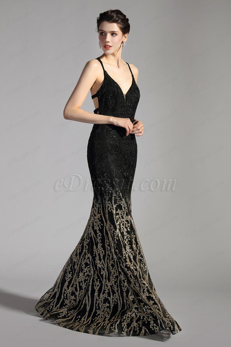 Черно-золотое блестящее вечернее платье с V-образным вырезом(02206300)