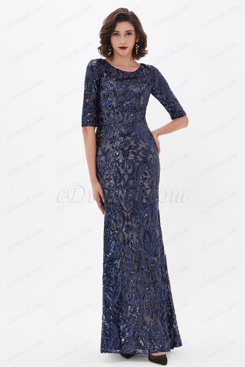 eDressit Blau Pailletten Spitze halbe Ärmel Party Abendkleid(02211305)