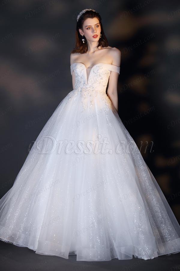 Свадебное платье с блестками и открытыми плечами (01201907)