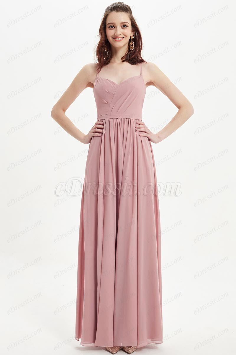 eDressit Dusty Rose Spaghetti V-Cut Bridesmaid Dress (07218346)