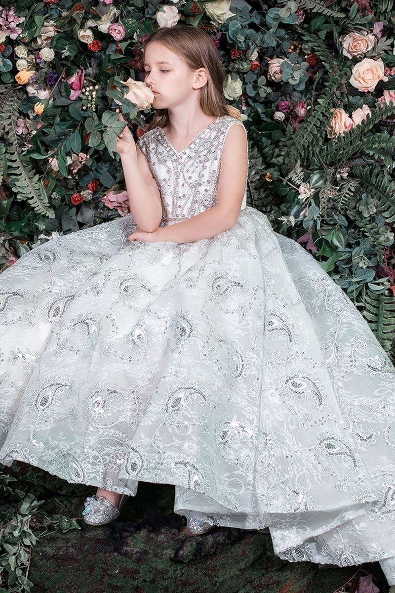 New High Quality Beads Appliques Floor-length Flower Girl Dress (T27006)