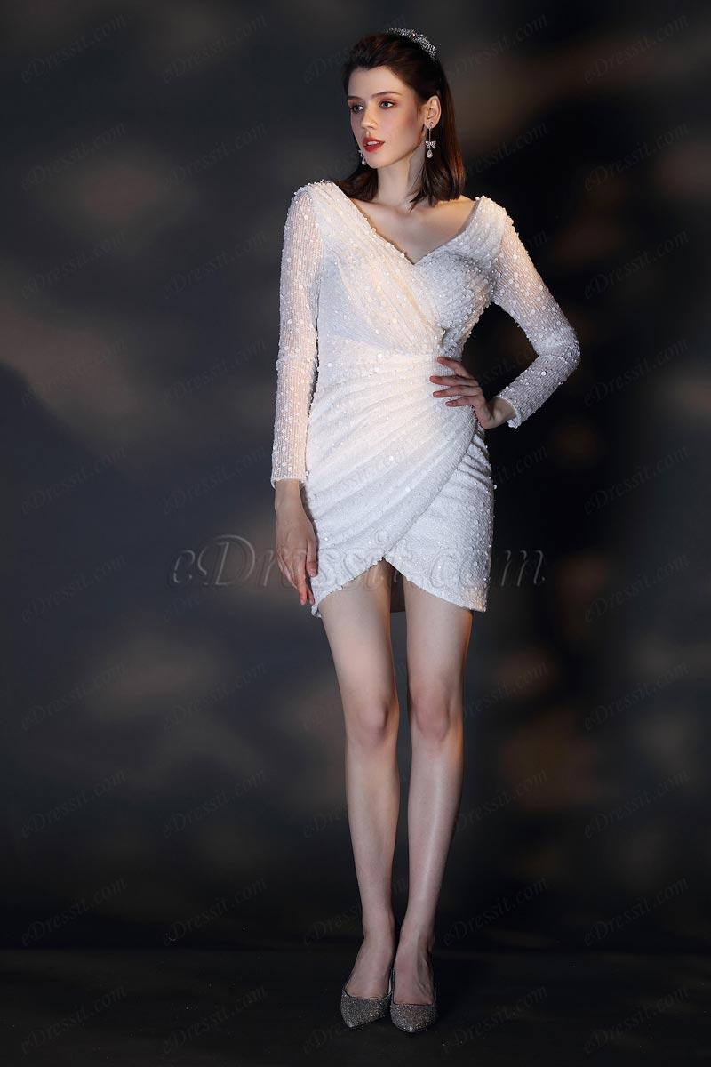 eDressit Neues weiße mit langen Ärmeln Abendkleid Partykleid(03200807)