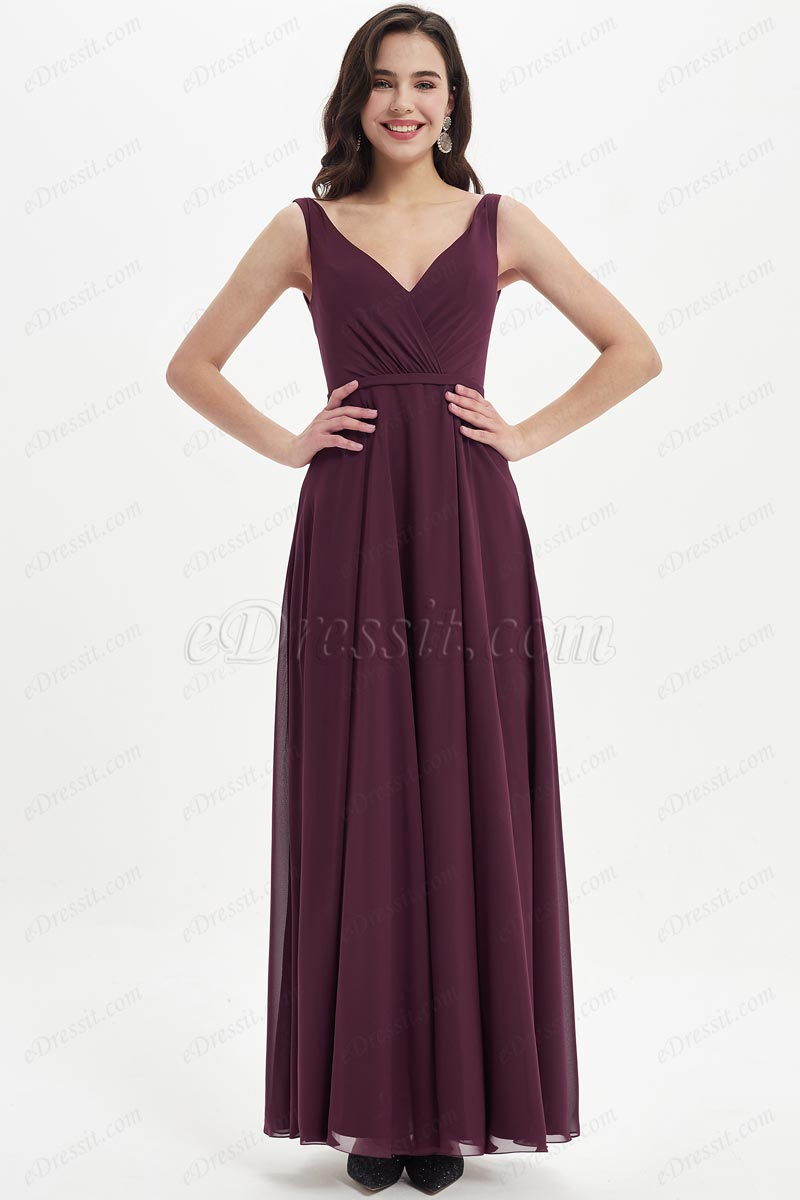 eDressit Burgundy V-Neck Straps Long Bridesmaid Dress (07214417)