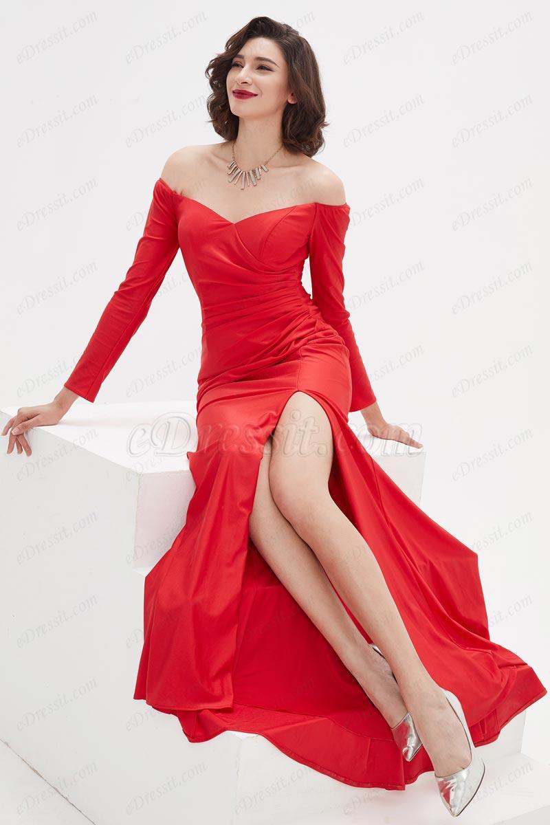 eDressit Red OFF Shoulder Sleeves High Slit Party Evening Dress (02210502)