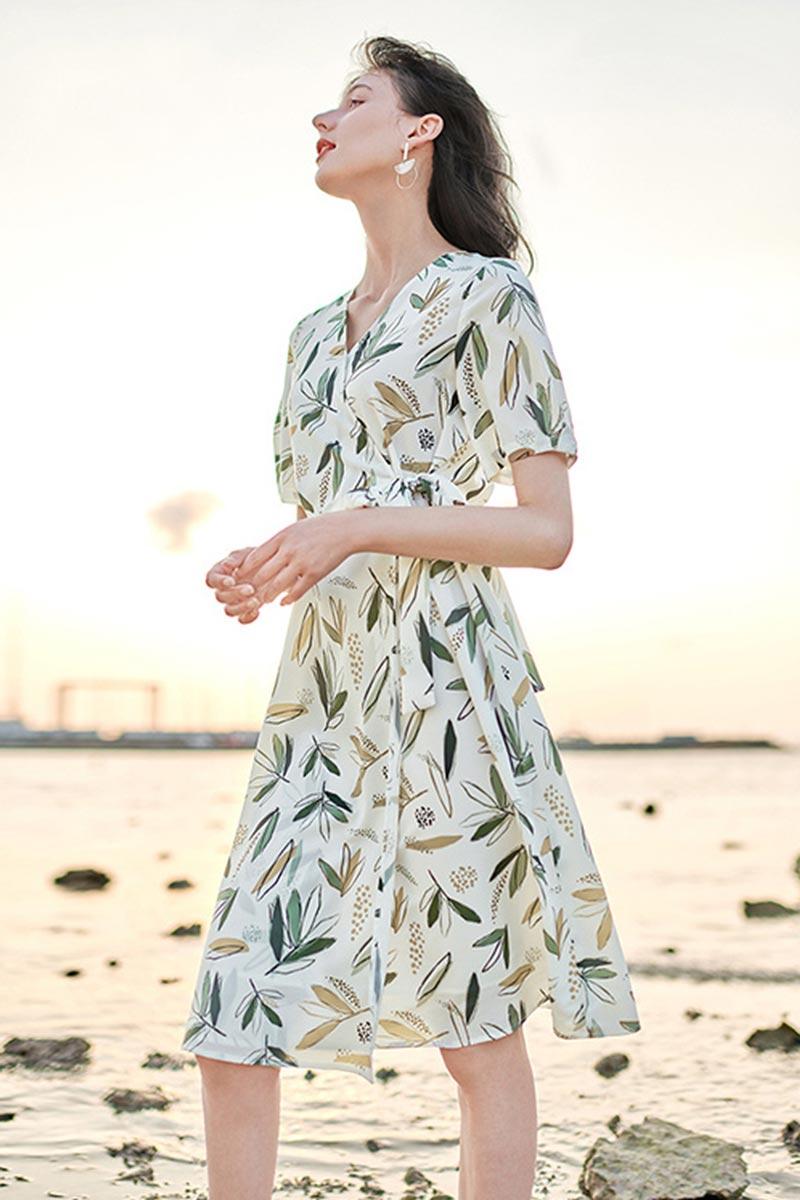 eDressit New Short Sleeves Print Midi Dress Summer Dress for Women (T060003)