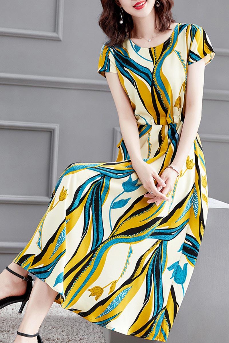 New Women Shiny Blue&Yellow Chiffon Summer Party Maxi Silk Dress (T061030)
