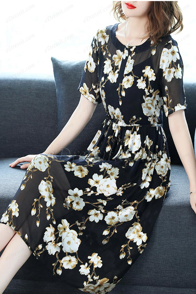 Women Black &White Floral Printed Party Summer Holiday Silk Dress (T061020)