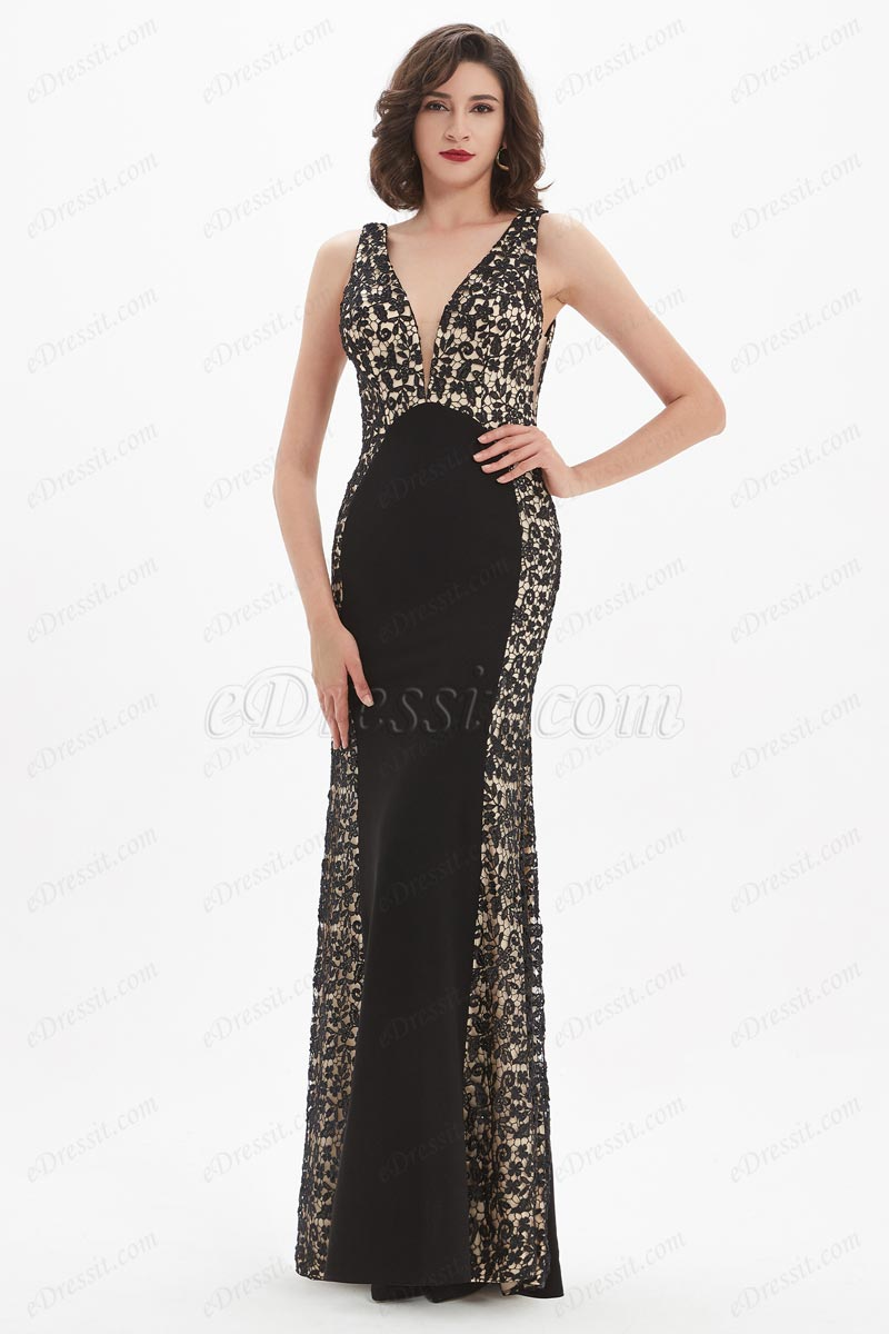 eDressit Elegant V-Cut Black and Lace Occasion Party Dress (00211600)