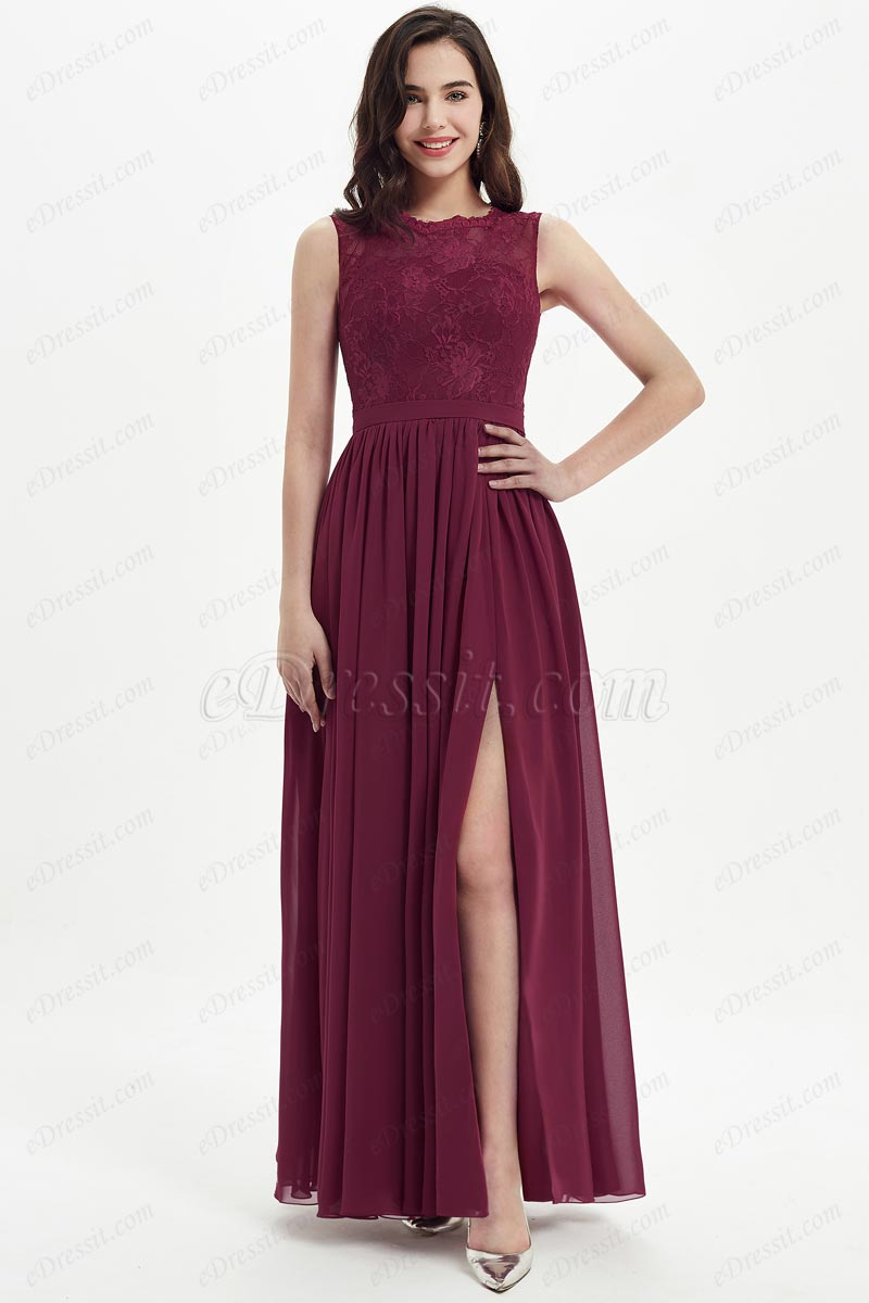 eDressit Burgundy Lace Appliques Chiffon Bridesmaid Dress (07213917)