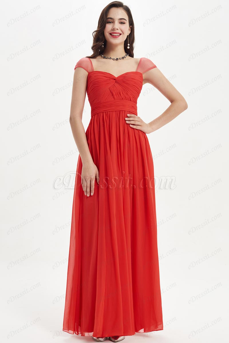 eDressit Cap Sleeve Sweetheart Red Wedding Bridesmaid Dress (07210702)