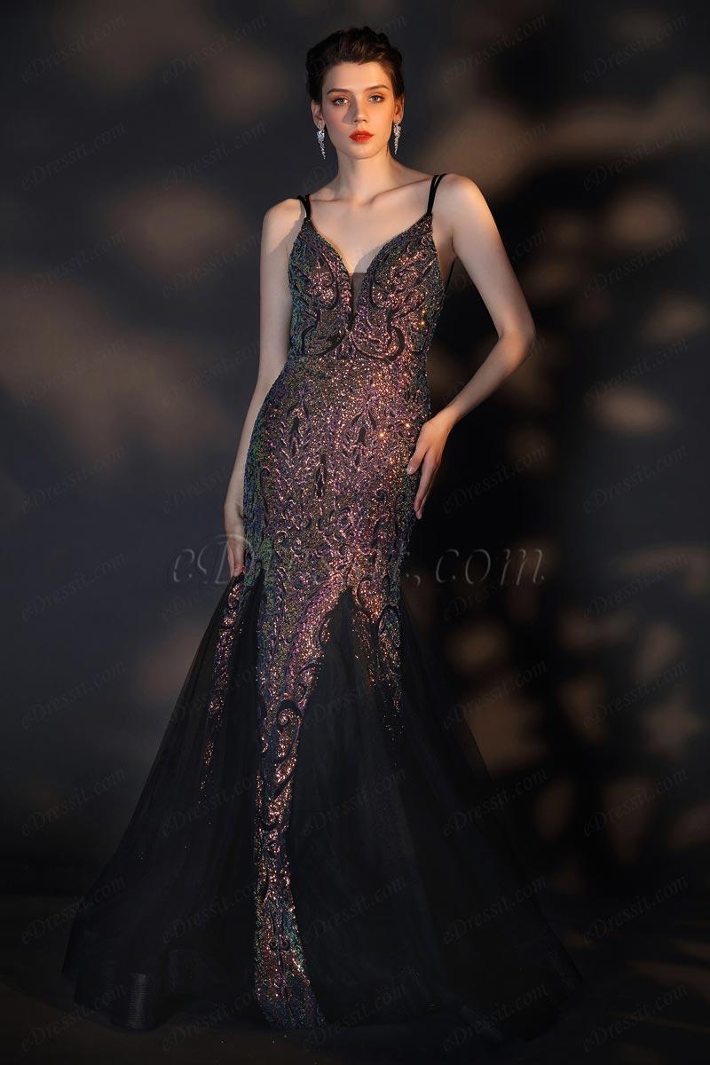 Блестящее выпускное платье с V-образным вырезом спагетти(02205968)
