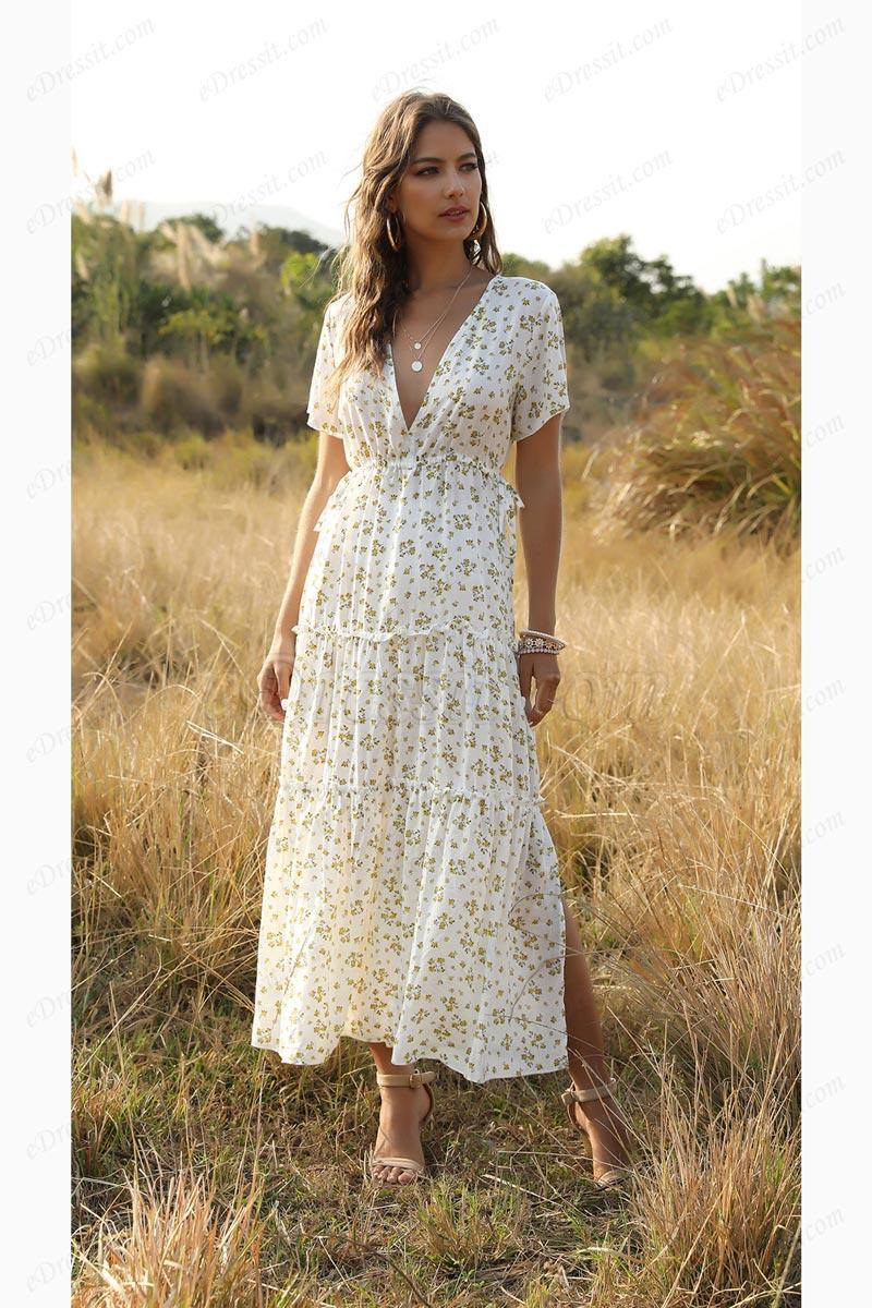 Women Summer Bohemian Floral Printed V Neck Beach Party Midi Dress (T061036)