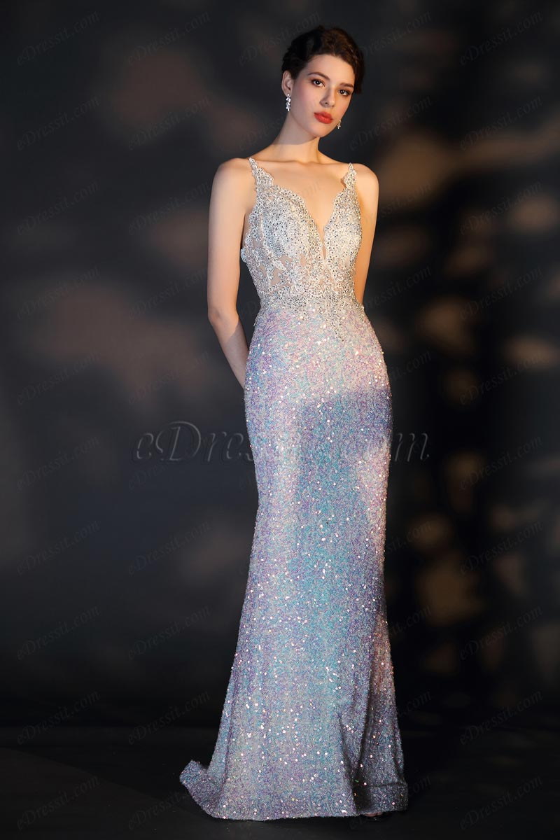 eDressit New V-Cut Lace Sequins Party Prom Dress (02204826)