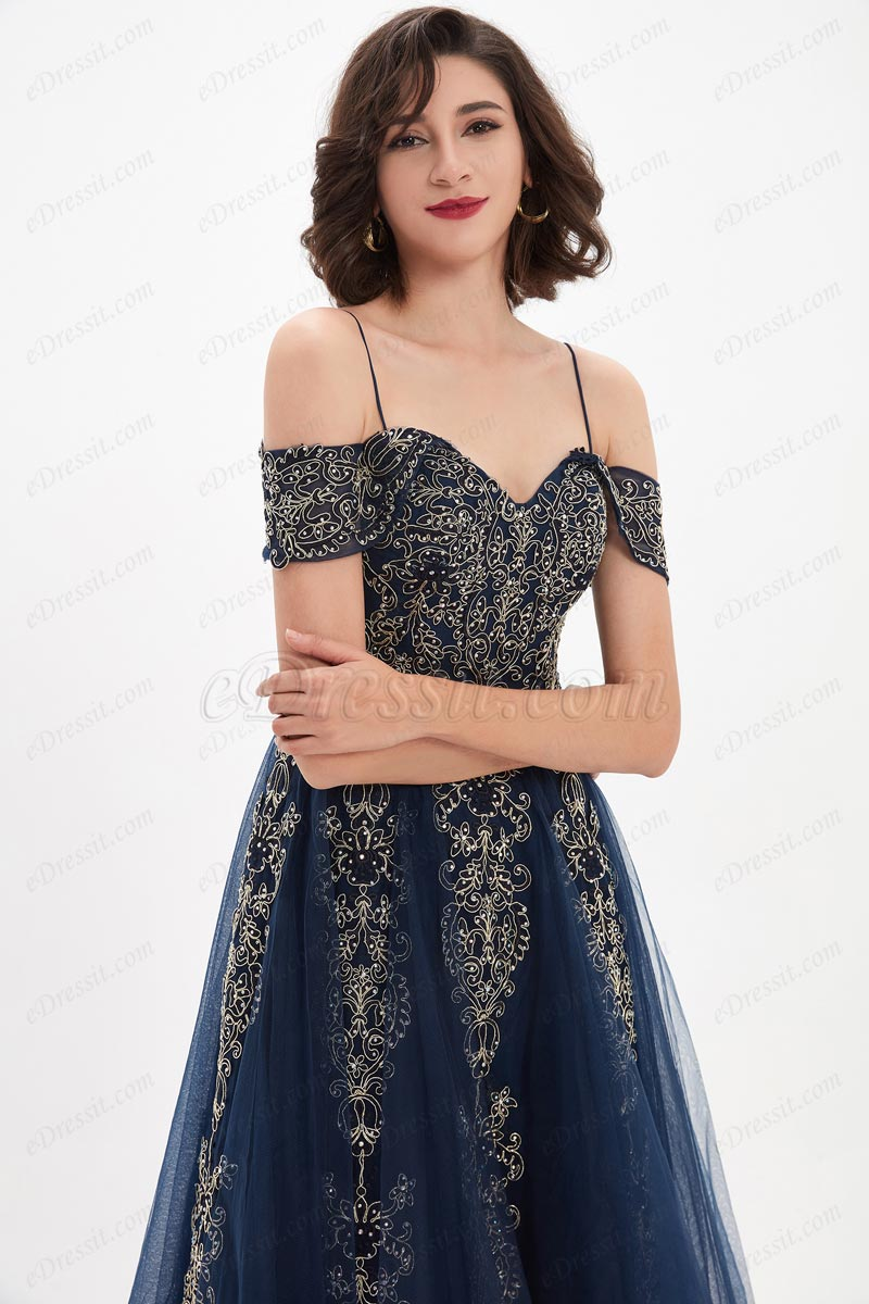 eDressit Blue OFF Shoulder Lace Tulle Women Party Prom Gown (02211005)