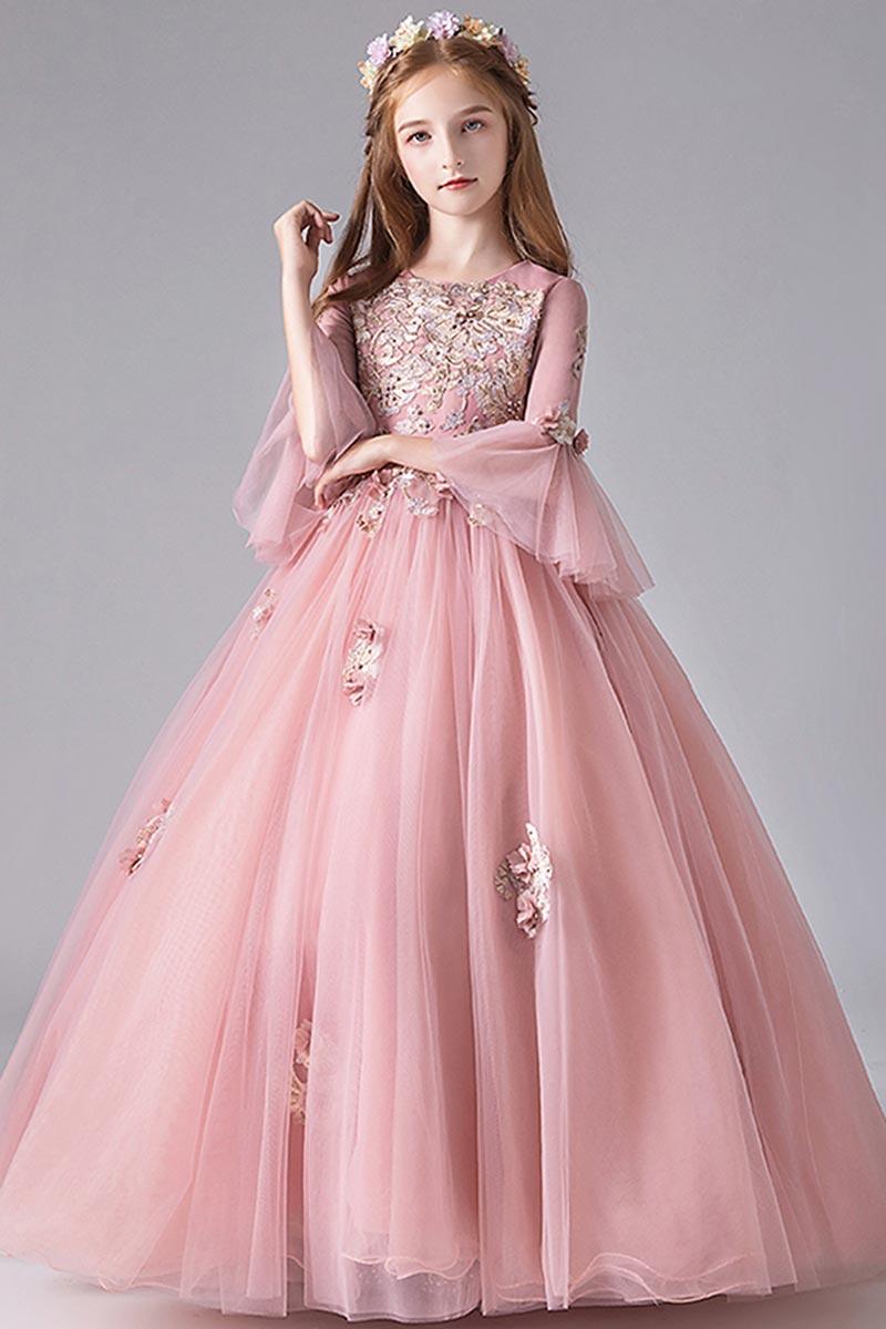 eDressit Lovely Pink Trumpet Sleeves Flowergirl Dress (27210201)