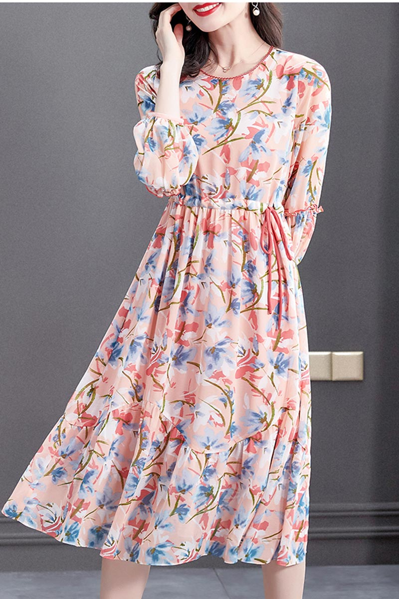 New Pink Floral Printed Chiffon Party Holiday Casual Dress (T061016)