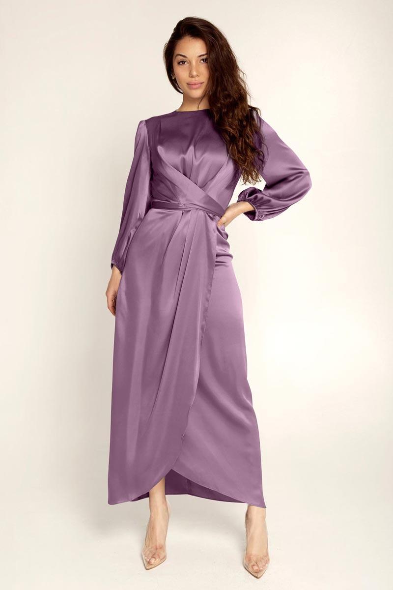 New Women's Elegant Empire Waist Long Sleeve Satin Maxi Dress (T300001E)