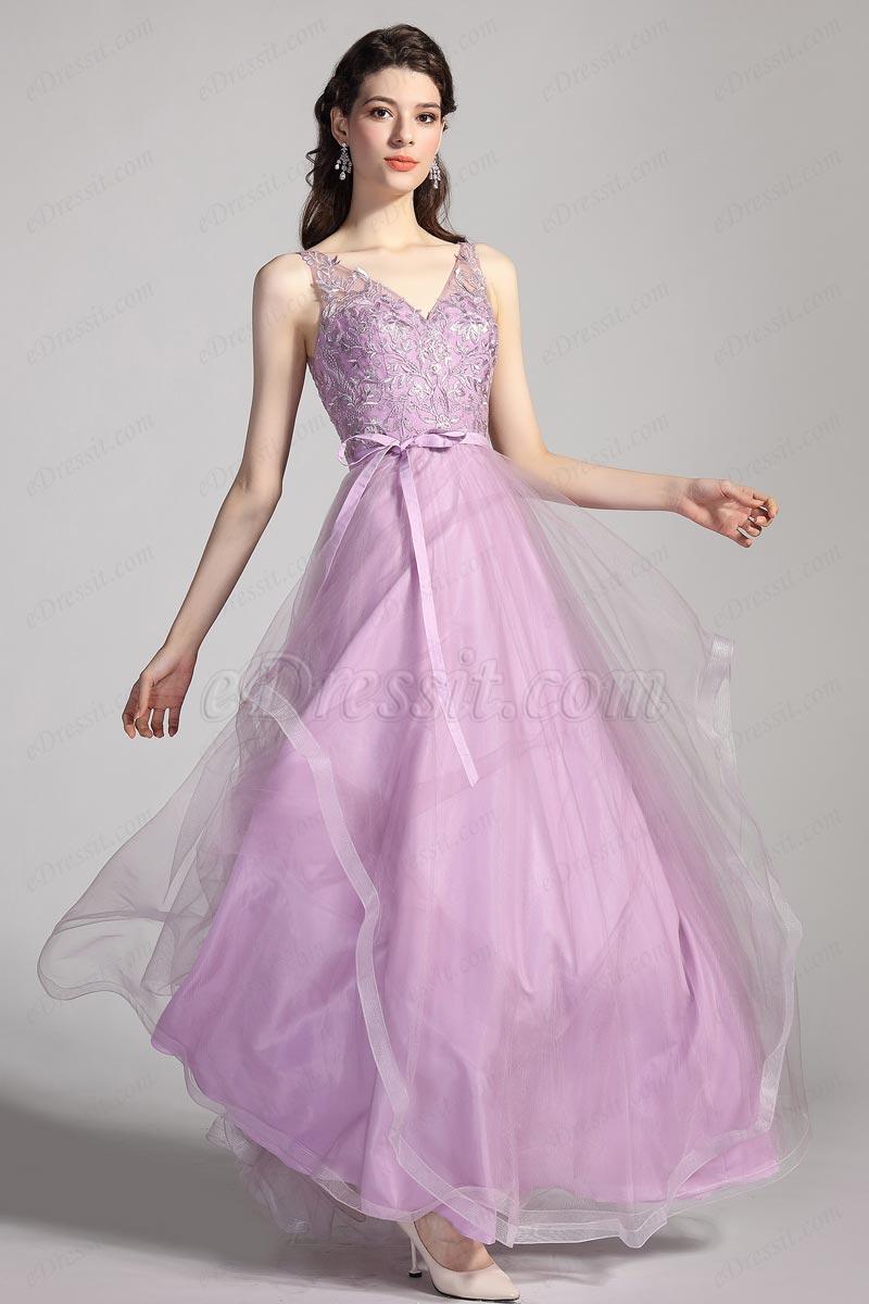 eDressit Purple V-cut Straps Lace Tulle Ball Evening Dress (00206106)