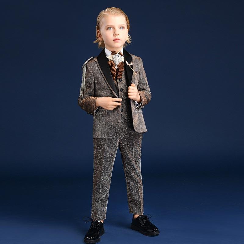 Peak Lapel Solid Shine Chic Suits 4 Piece Suit (T16006)