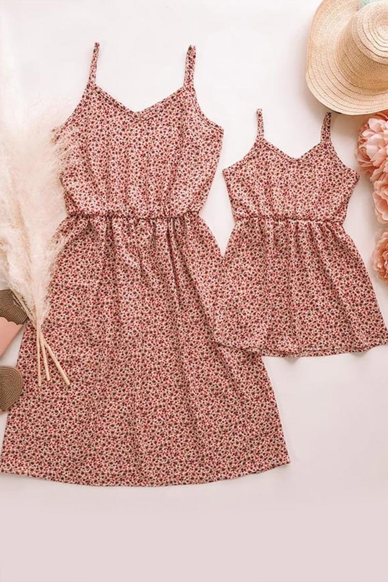 New Mommy and Me Summer Floral Printed Matching Dress (T400868)