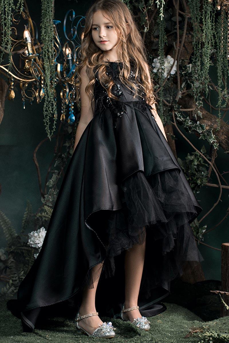 New Black Lace Applique Sleeveless Flower Girl Dress (T27016)
