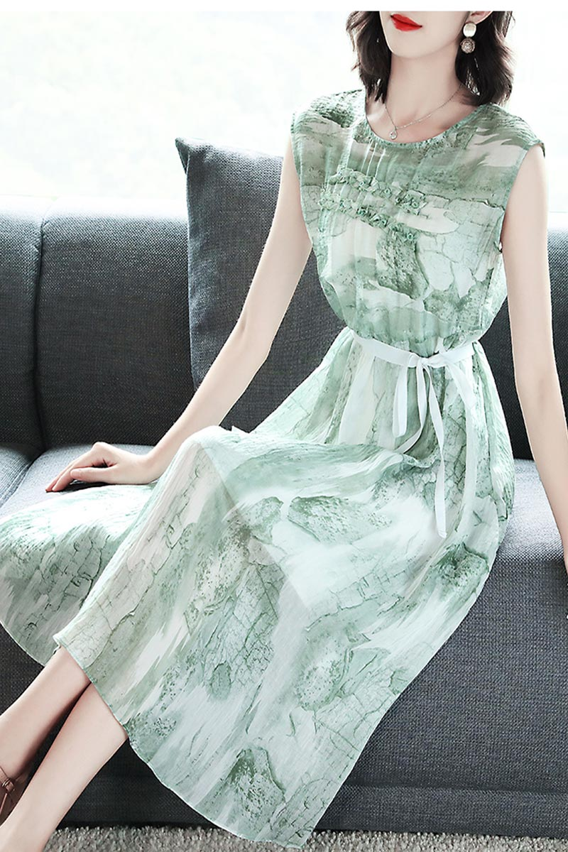 NEW Light Green Floral Printed Party Holiday Dress (T061019)