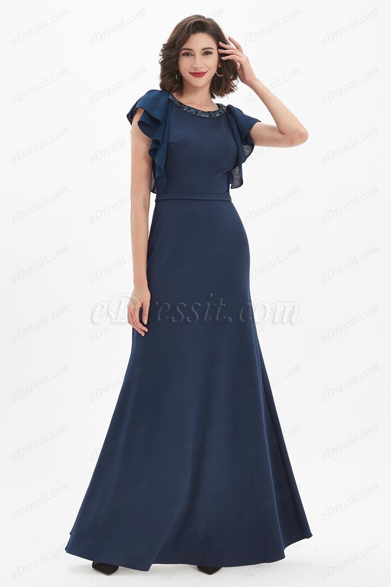 eDressit Blue Beaded Neckline Ruffle Sleeves Party Ball Dress (02211405)