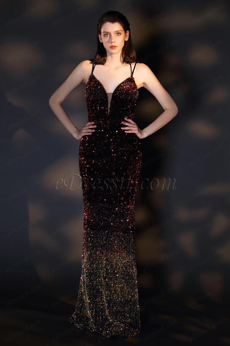 V-образный вырез декольте вечернее платье (00201356)