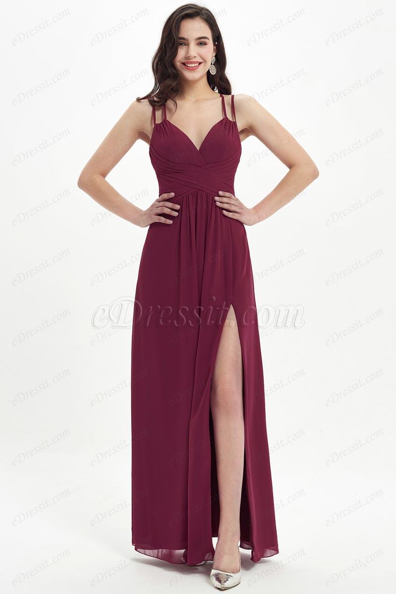 eDressit Spaghetti V-Cut High Slit Lovely Bridesmaid Dress (07213717)
