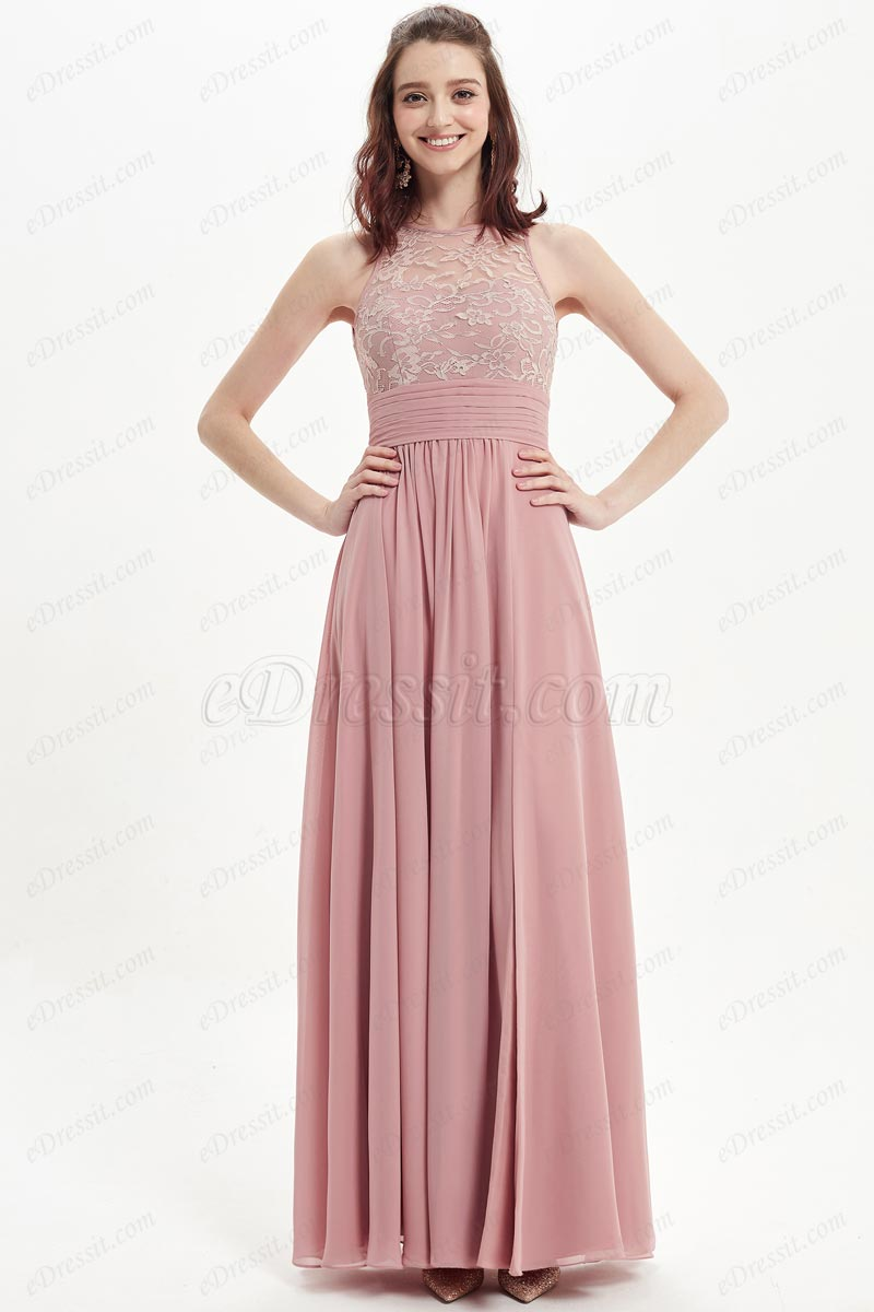 eDressit Dusty Rose Lace Appliques Party Bridesmaid Dress (07215301)