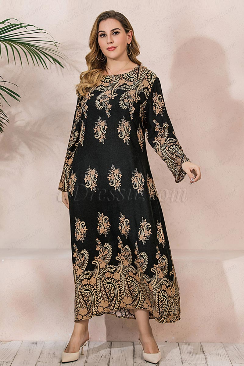 New Women Plus Size Casual Dress Long Sleeve Floral Printed Dress (T300005)
