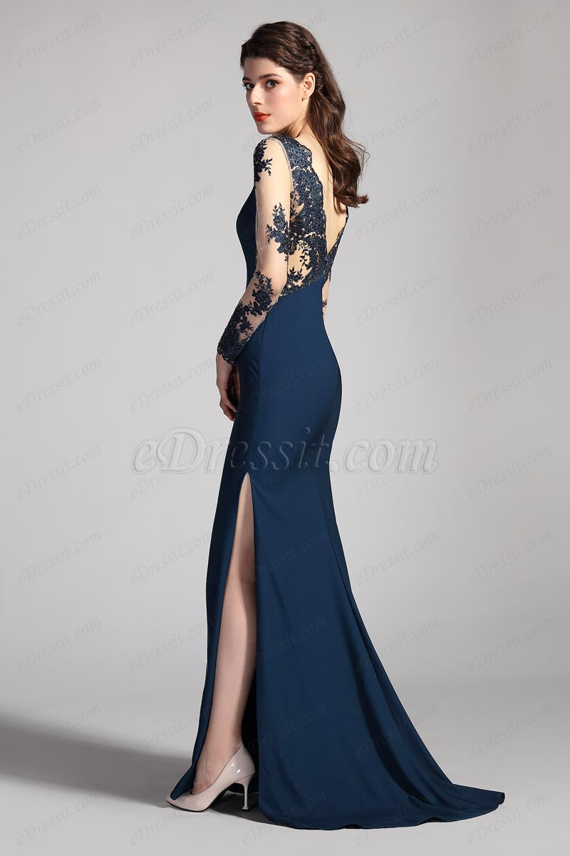 Синее вечернее платье с высоким вырезом и V-образным вырезом(26201505)