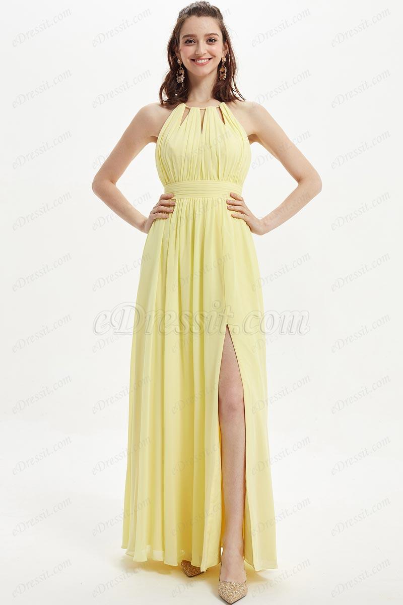 eDressit Sexy Yellow Halter Pleated Top Slit Bridesmaid Dress (07218503)