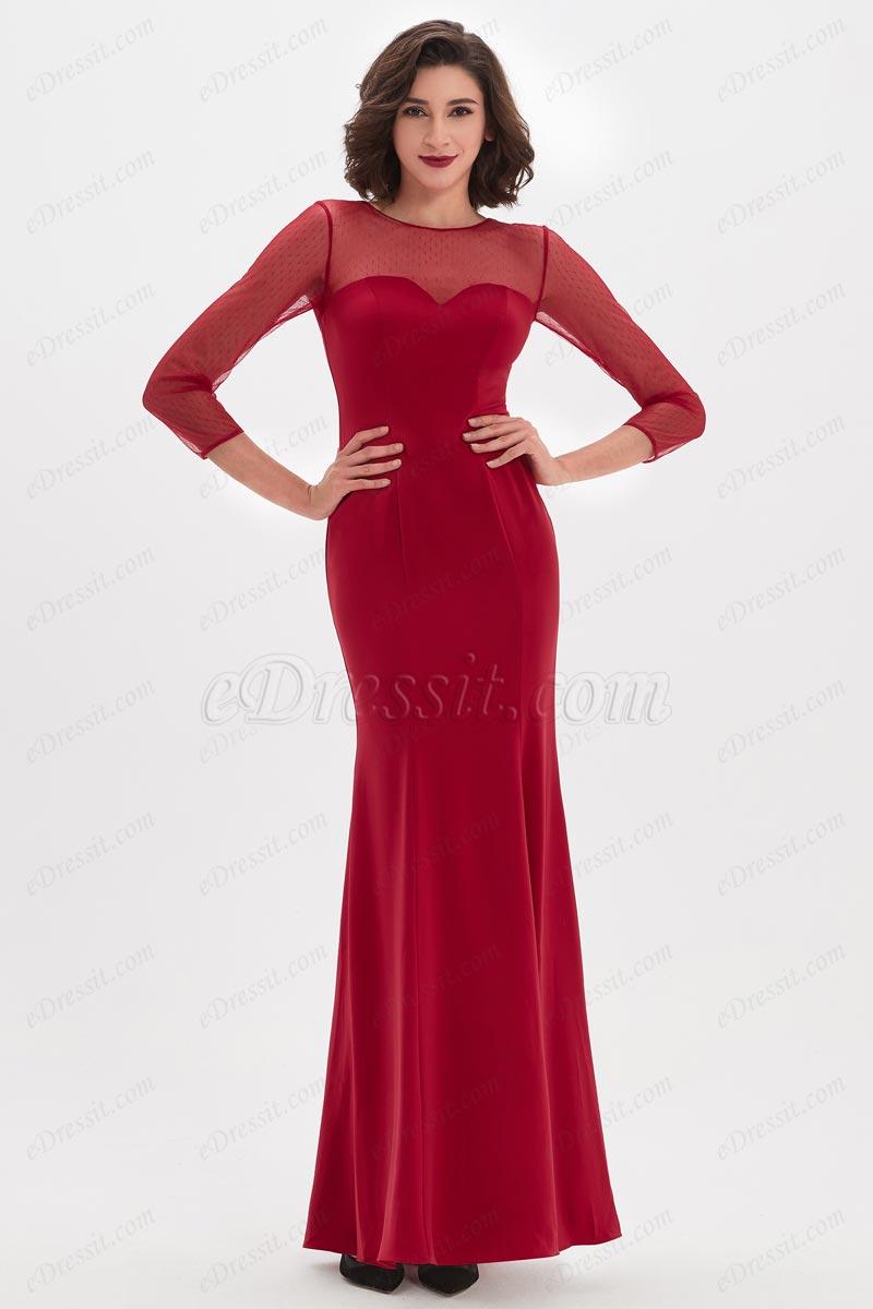 eDressit Robe de Bal Rouge Col Illusion à Manches Longues (26210302)