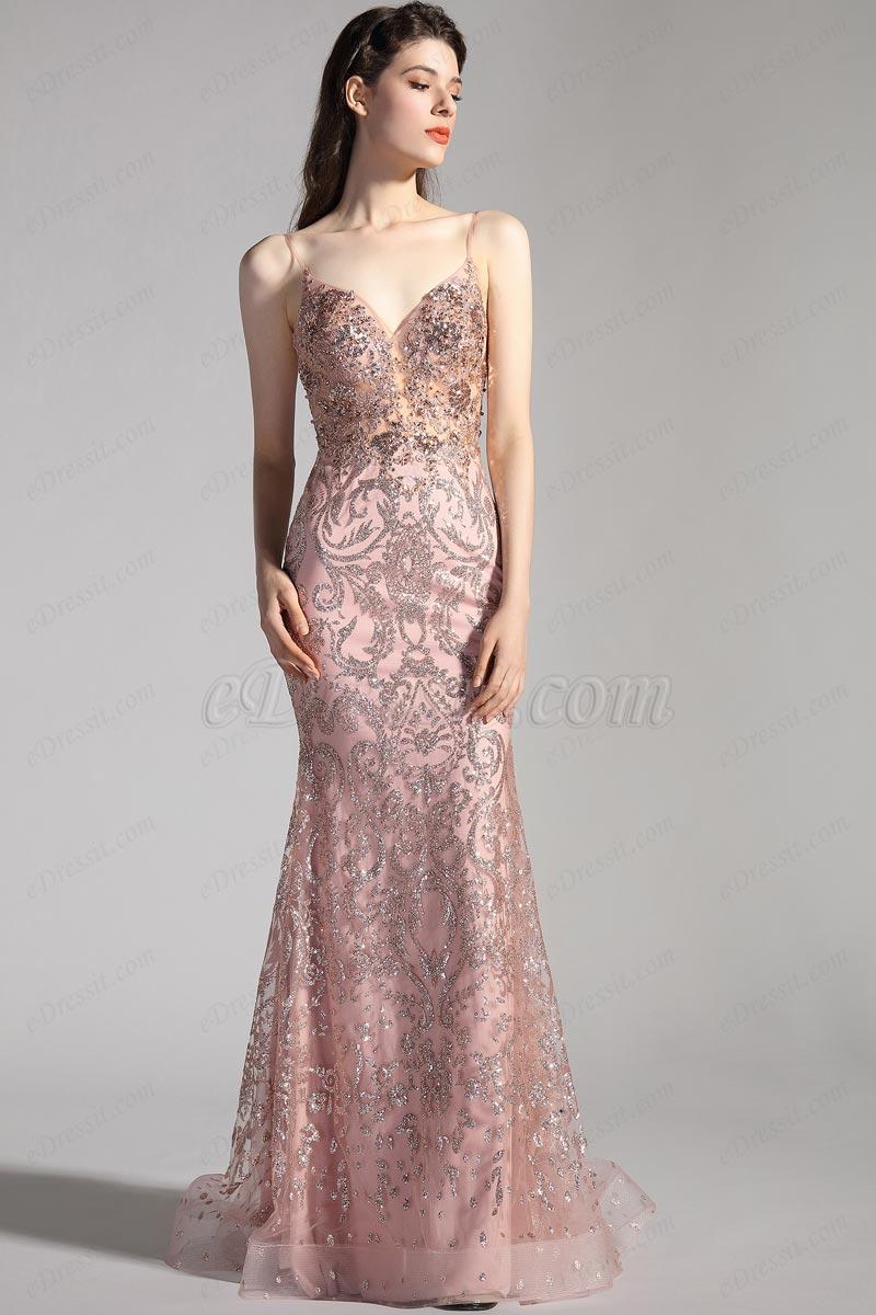 eDressit Спагетти V-Cut Вечернее платье с бисером (00208646)