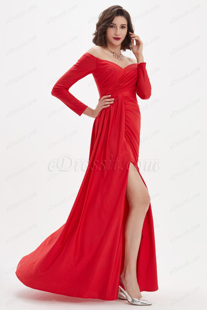 eDressit Sexy Off Shoulder V-Cut High Slit Sleeves Party Evening Dress (02210602)