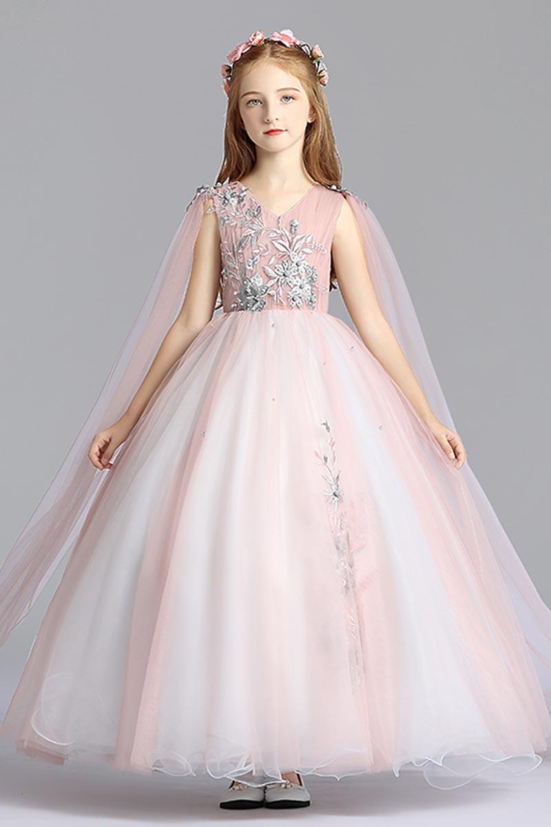 eDressit Pink V-Cut Open Sleeves Tulle Flowergirl Dress (27210501)