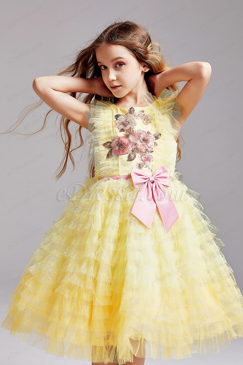 eDressit Yellow Sleeveless Flower Girl Dress with Lace Appliques (T27002)