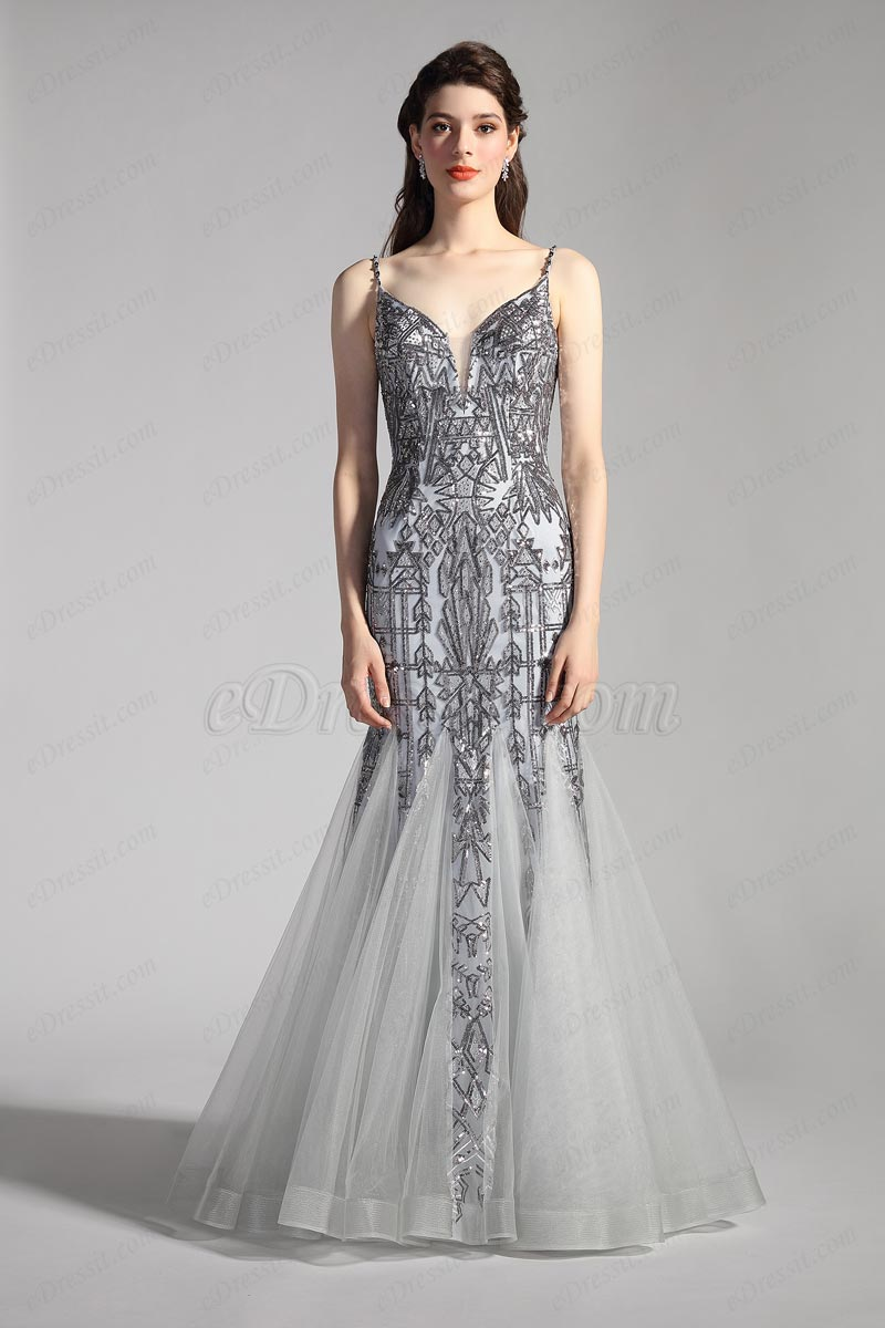 eDressit Sexy Grey V-Cut Spaghetti Beaded Mermaid Party Evening Dress (02205608)