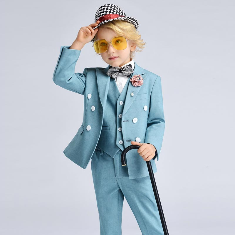 New High Quality Blue 4 Pieces Formal Suits Boys' Suits (T16005)