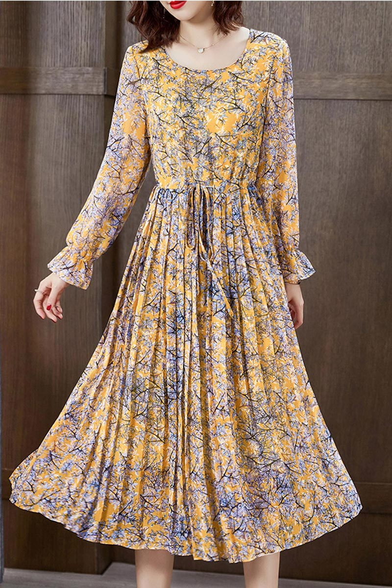 eDressit Yellow Floral Printed Chiffon Holiday Party Evening Dress (T061018)