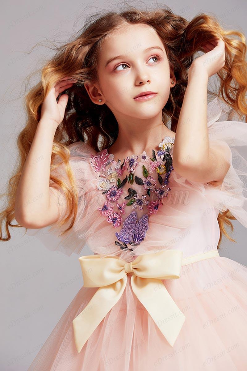 Bowknot Applique Waist Glitter Tulle Flower Girl Ball Gown (T27003)