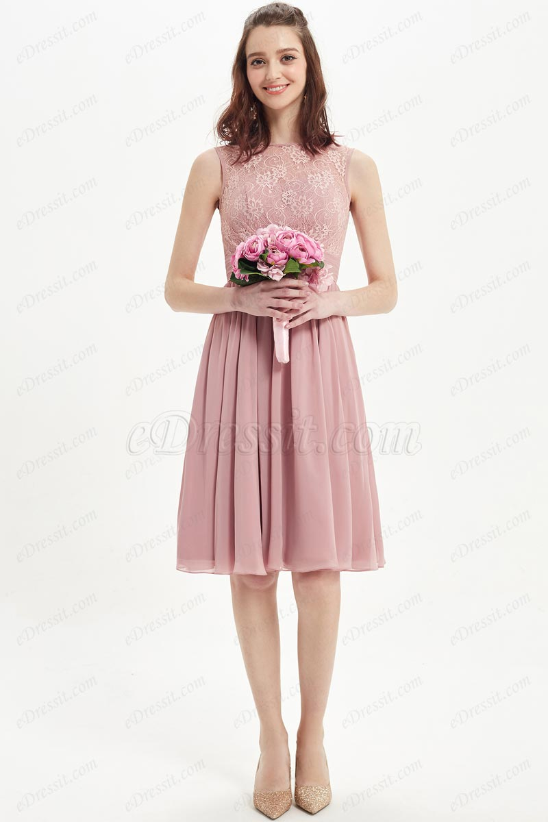 eDressit Dusty Rose Lace High Neck Cocktail Dress (07217601)