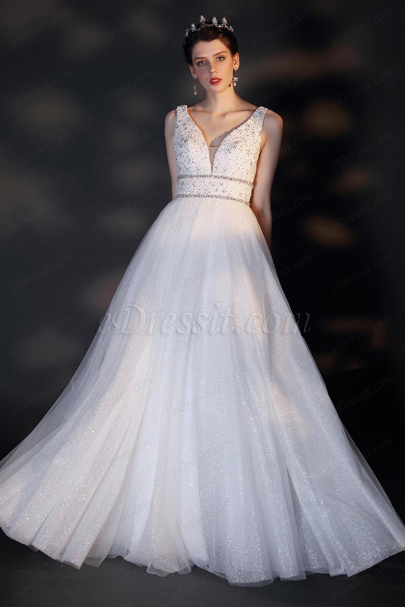 eDressit V-Cut Broderie Perles Robe de Mariée Brillante (01202307)